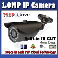 1.0MP 720P Onvif IP Camera Waterproof with IR Cut CCTV Surveillance Network  Camera Night Vision Free Shipping