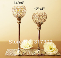 "2Pcs/Set, Glass Crystal Candle Holders,14""x4"" & 12""x4"", Wedding Candlesticks, Wedding Centerpiece & Home Decor,  Free Shipping"