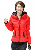 Slim elegant new spring 2014 plus size thickening wadded coat short hooded cotton padded winter jacket outerwear for women C243
