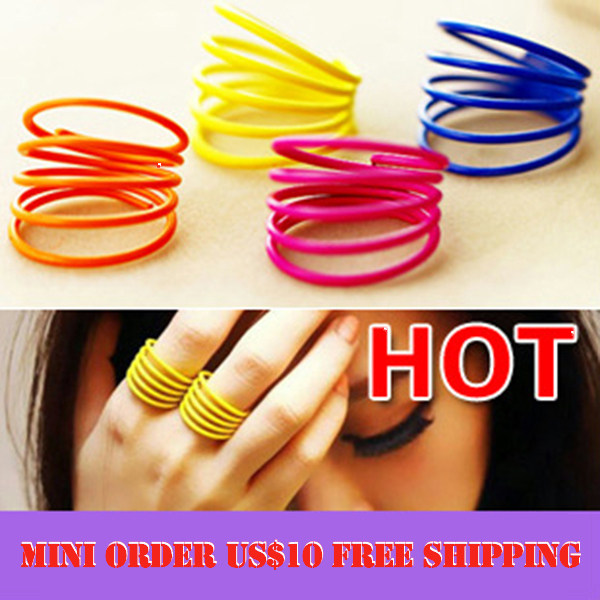 Min. order $10 (mix order) Fashion Spiral Design Thin Model Finger Rings Fluorescent Color Spring Shape Rings for Women 055540(China (Mainland))