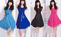 Fashion Elegant Women Slim Round Collar Chiffon Short Sleeve Dress Ladies Side Zipper Dress
