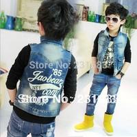 retail boys kids denim vest baby waistcoat clothing child casual vest children outerwear Free shipping