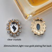 (M0722) 20mmx24mm rhinestone embellishment ,light rose gold plating,fourl style for choose,flat back