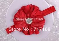 "Flower headband 2014 New 3.8"" big shiny satin flowers with pearl rhinestone thick baby Headband 10pcs/lot"