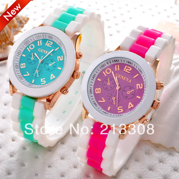(15 Colors)TOP Quality GENEVA Popular Silicone Quartz Men/Women Unisex Jelly Wristwatch,Classic Gel Crystal Silicone Sport Watch(China (Mainland))