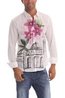 2014 new Desigual Ciudad Flores 42C1280 100% cotton print long sleeve casual men shirts S M L XL XXL XXXL free shipping