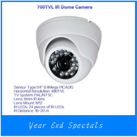 Clearance Sales+free shipping PAL/NTSC IR Dome Camera 700TVL 1/4 PICADIS ICR w/ 24 IR LED 6mm Lens DP-928CHE-6 Indoor Security