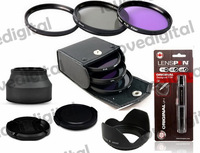 3-Stage Rubber Lens Hood + cleaning pen  55MM UV CPL FLD Filter Kit + Lens Hood For Sony Alpha A55 A35 A65 A77 A57 F5