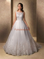 2015 A Line Boat Neck Sleeveless Sweep Train Bridal Gowns White Ivory Lace Wedding Dress Size 2 4 6 8 10 12 14 16