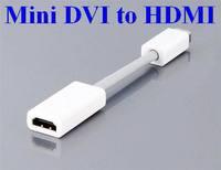 1000pcs/lot*Mini DVI Male To HDMI  Female M/F Video converter Adapter Cable Cord For Apple iMac Macbook Pro White