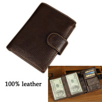 Men Money Genuine100%Leather wallet Billfold slim Design CASE credit card new rfee shiping