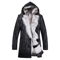 2013Hooded Winter Men's Sheepskin Genuine Leather Jackets Coat Men Fox Fur Collar & Liner Leather Overcoat Jacket Men L1130