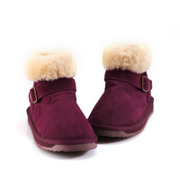 2014 warm winter 100% sheep skin and wool fur snow boots woman 6 colors buckle woman shoes size US 5-9 ED5822