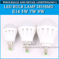 5pcs led bulb lamp High brightness bulbs led lights E14 5W 7W 9W 12W 2835SMD Cold white/warm white AC220V 230V 240V