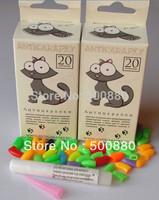Free Shipping 20 pcs/lot Pet  Cat Finger Grooming Floor Protect Pet  Cat Nail Caps Claw Control Soft Paw Caps XS,S ,M,L