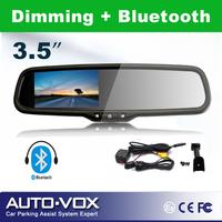 Full Dimming Car Rear View Reverse Mirror Monitor for DVD Camera+Bluetooth+OEM mount bracket