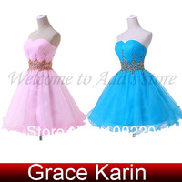Free Shipping Grace Karin Royal Blue/Pink Strapless Sequins Voile Ball Formal Party Cocktail Evening Prom Dresses 2014 CL4972