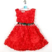 princess girls party dresses 2015 new cute flower Sundress kids dress with belt red pink children clothing vestidos de menina