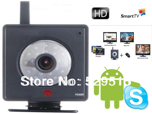 inteligente com android câmera hd para skype& caixa de tv de vigilância câmera com tv com hdmi conexão av ou transporte da gota disponível(China (Mainland))