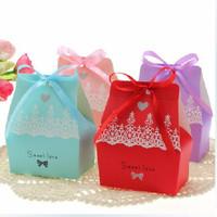 Free Shipping 100pcs/lot Ribbon Wedding Favour Candy Box Wedding Paper Bag Candy Box Gift Bags Gift