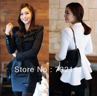 NEW 2014 Spring Fashion Women Elegant Slim Suit Casual White Black Blazer Swallowtail Jacket Desigual Coat Short Clothing