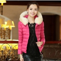 New Arrival Winter Slim Women's Hooded Cotton-Padded Jacket Fur Collar Winter Outerwear Woman Down Jacket JK-217