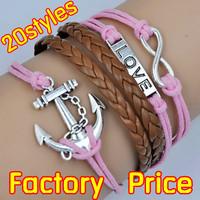(Minimum order $5,can mix) Antique Anchor Infinity Love Bracelet Wrap Leather Wax Cords Bracelet