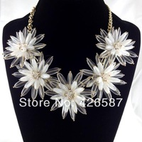 big transparent flower gold plated white choker statement necklace for women 2013