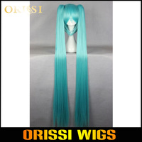 750g   Hot Selling Beauty Wig 120cm Long Vocaloid-Miku Blue Anime Cosplay Costume Wig+2 ponytails