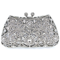 2014 Crystal Flower Silver Color Metal Evening Wedding Bridal Party Night Purse Clutch Bag Women Handbag FREE SHIPMENT