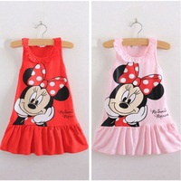 new 2014 summer girl dress wholesale children clothing minnie mouse leisure kids dresses 5pcs/lot
