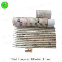 Customized 12pcs newspaper pencil in paper box ,LH-435