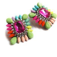 New Hot sale  women fashion shourouk crysta big statement stud  Earrings for women jewelry wholesale