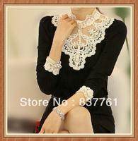Lace top basic turtleneck shirt diamond fashion pearl female puff sleeve lace shirt long-sleeve 2013 autumn