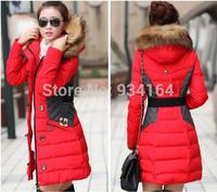 2014 New Brand Fashion Clothing Fur Hooded Zipper Long Style Women Warm Down Coat 4 Colors Winter parkas coat Size S-3XL