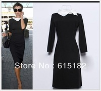 Free Shipping Victoria Beckham Vintage Turn-down Collar Three Quarter Sleeve Color Block  Mid-calf Dress D588