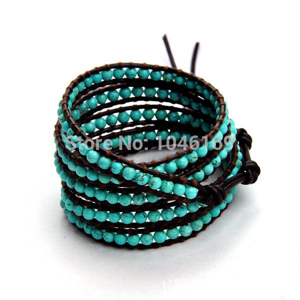 2014 New fashion vintage style friendship weaving leather 5 wrap bracelet natural stone crystal bead handmade bracelet(China (Mainland))