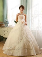 2014 sweet princess tube top wedding dress the bride married white, champagne decorated