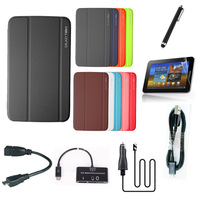 Hot Ultra Slim Business Book Folio Case Cover For Samsung Galaxy Tab 3 10.1 P5200 P5210 +Pen+USB Cable+OTG Cable+Card reader