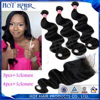 6A virgin peruvian body wave hair unprocessed human hair extension.(3pcs weft add 1pcs closure)