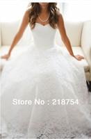 Free Shipping Elegant Sweetheart A-line White Lace Pleats Floor Length Wedding Dresses Bridal Gown Long amanda novias 2013