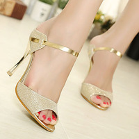 New Arrival Hot-selling Summer Peep Toe Sweet Fashion Women's Sandals Thin Heel Pumps Princess High Heels Women Shoes LS106