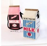 2014 Canvas hard milk carton shoulder bag women fashion small refrigerator messenger bag girl's cute trunk box bag free shipping