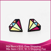 B251 new 2014 vintage colorful Imitation diamond innovative items stud earrings women