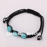 free shipping 2014  new fashion 10mm shamballa,bracelet 3pcs jewelry handmade bangles bracelets disco chain