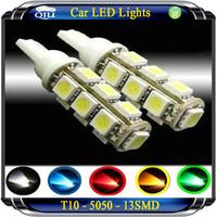 T10 car led lighting 13smd  1.5W LED 5050 chip led instrument lamp door lamp light show wide trunk lamp