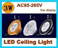 30pcs/lot 3W LED Ceiling down light 300LM Warm White/Cold White AC85-265V spot lights for ceiling led light