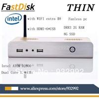 Industrial thin clients mini pcs  dual core four thread 1.86GHz intel atom d2800 with  HDMI+6USB2.0  fanless   mini computer