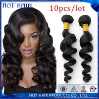 5A grade loose wave braizlian hair virgin human hair extension 10pcs/lot