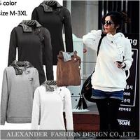 Freeshipping,New 2014 Autumn Korea Women Hoodies&Coats Warm Button Outerwear Sweatshirts.Women's Casual hoodies.5 Colors 5 Sizes